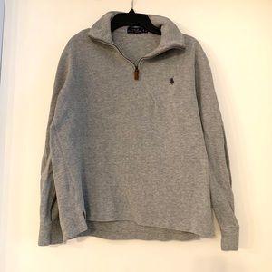 Gray POLO Half Zip Pullover Sweater
